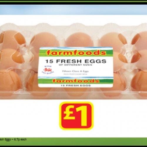 15 fresh eggs £1.00 @ Farmfoods