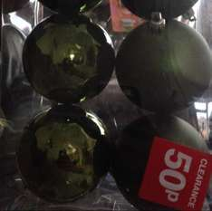 6 packs of baubles 80mm green , silver or gold reduced to 50p @ b&q