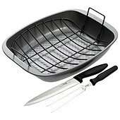 Prestige Non-stick Roasting Pan, Rack and Carving Knife Set £5 @ Tesco Direct