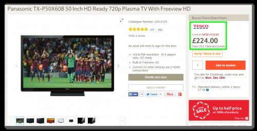 @ YeOlde TescoDirect - Panasonic TX-P50X60B 50 Inch HD Ready 720p Plasma TV With Freeview HD - Stupid Cheap.. £224.00