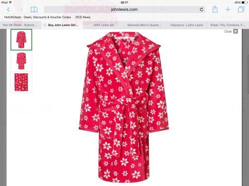 Girls red dressing gown half price £9.50 @ John Lewis