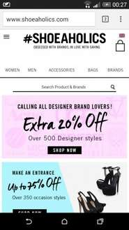 Designers shoes an extra 20% off on Shoeaholic site.
