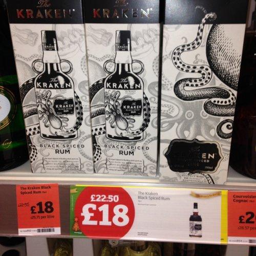 Kraken spiced dark rum £18 @ Sainsburys