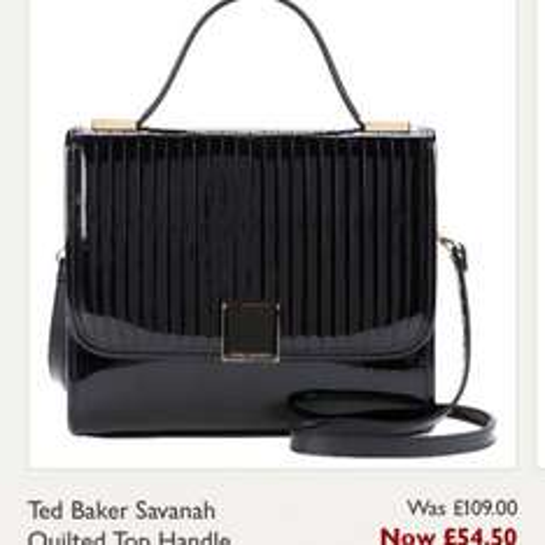 Ted Baker savanah quilted top handle across body bag black £54.50 @ John Lewis