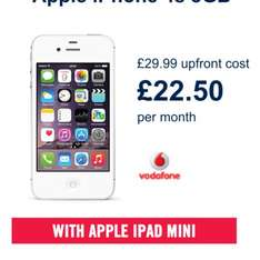 iPhone 4s & iPad Mini (300 mins, Unlimited txt,* 250MB ) for only £22.50 per month and £29.99 upfront @ Carphone Warehouse