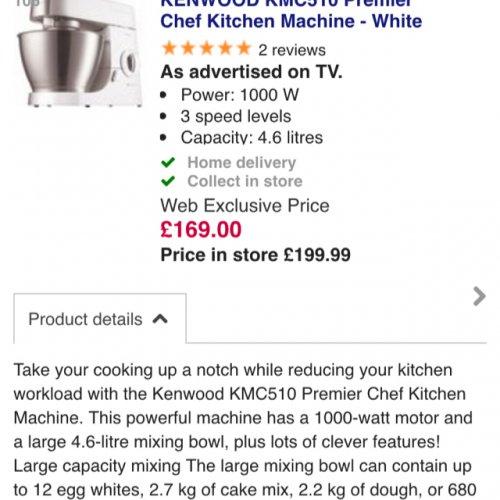 KENWOOD KMC510 Premier Chef Kitchen Machine - White £169 @ Currys