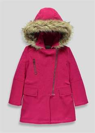 Girls Pink Wool Duffle Coat @ Matalan