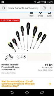 Halfords Advanced Professional 8pc Screwdrivers - 2 Sets for just £6.30!