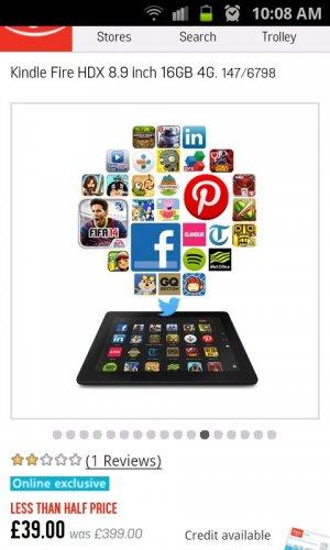 Kindle Fire HDX 8.9' 16gb 4G £39.00 @ Argos