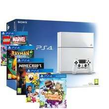 PS4 White Console + Little Big Planet 3 + Minecraft + Lego Marvel Superheroes + Rabbids Invasion + Rayman legends for £350 at Rakuten (with code)