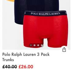 Ralph Lauren boxers 23.40 using code app10 @ asos
