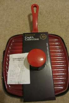 Sainsbury's cooks collection cast iron griddle pan (Skillet) with grill bar £12.50
