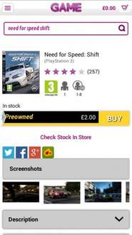 Need For Speed Shift(Preowned) PS3&X360 £2 @ GAME