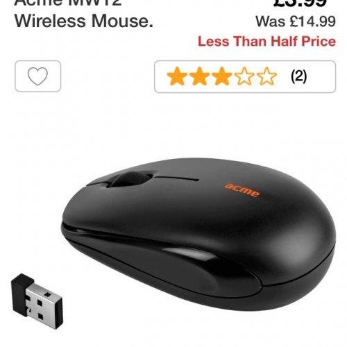 Acme MW12 Wireless mouse £3.99 at Argos
