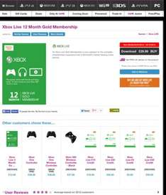 Xbox Live Gold 12 month & get £5 Live credit £29.99 @ Game