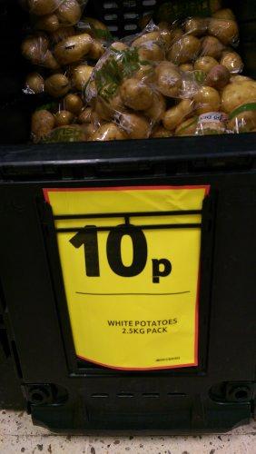 2.5kg potatoes for 10p @ Tesco