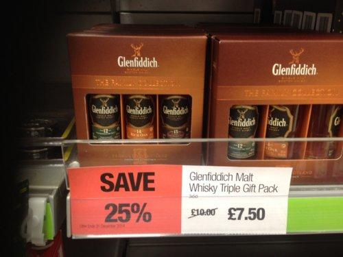 Whisky: Glenfiddich 3 single malts (50 ml) £7.50 @ Sainsbury's