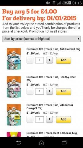 Dreamies cat treats 5 for £4 @  Sainsburys