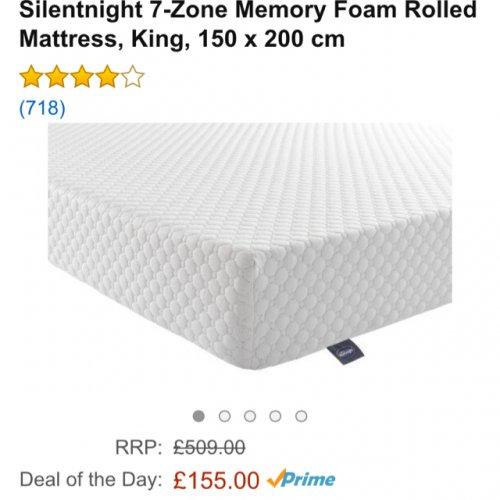 Silentnight 7-Zone Memory Foam Mattress, King £155 delivered at  Amazon.