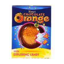 Popping candy chocolate oranges 50p - 200g Lindt cookies and cream £1.25 -  family circle tub 75p @ Sainsbury's