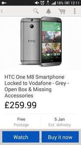 HTC ONE M8 open box £259.99 @ curry's/pcworld eBay