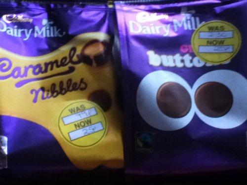 Cadburys dairy milk giant buttons and cadburys caramel nibbles 25p at Superdrug