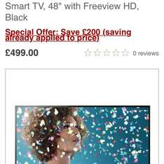 sony smart tv special offer £499 at john lewis