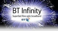 BT Infinity 1 Unlimited (38mb Fibre) + BT TV (BT Sports). £80.85/year after cashback, effective £6.74/month. 12 Month Contract. £405.85 pre cashback.