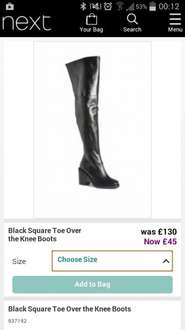 Square toe over the knee boots £45 @ Next (were £130)
