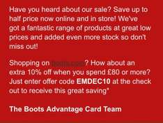 Boots half price with added stock + 10% on £80 spend