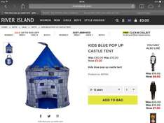 Kids castle pop up play tent £5 free click and collect from River Island