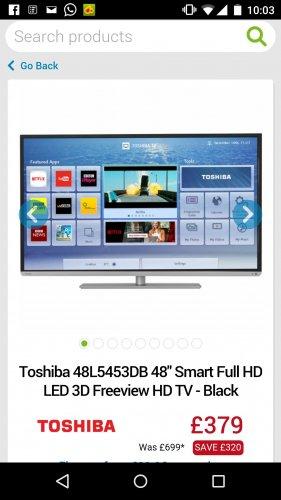 toshiba 48inch smart tv 400hz - £379 @ AO
