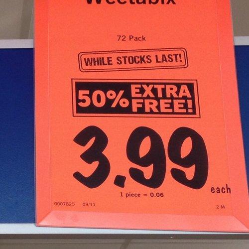 Weetabix 72pk (48+50%) only £3.99 @ Lidl