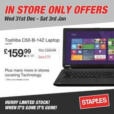 "Instore Only Toshiba C50-B-14Z 15.6"" @ Staples - Was on offer @ £179 on HUKD now for 3 day only £159.99"