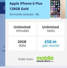 Great iPhone 6 plus contract £58.99 / 24mths  @ uswitch