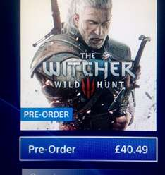 The Witcher 3 PS4 Pre-Order £40.49 @ PSN