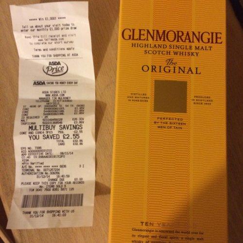 Glenmorangie scotch whiskey 70cl £26 at Asda