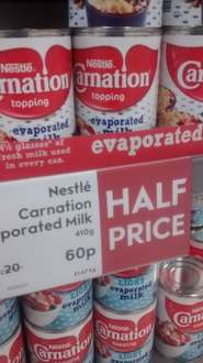 Nestle  Carnation Topping evaporated milk now half price @ Waitrose both Online and in store @ 60p for 410g.