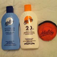 Pack of 2 Malibu suntan lotion and after sun £3.99 and a free frisbee! At b&m