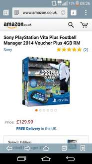PS Vita with Football Manager 2014 £129.99 Amazon.