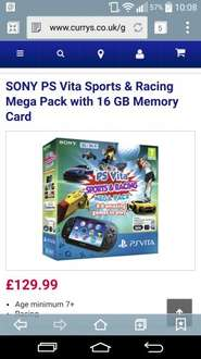 PS Vita  + Sports & Racing Mega Pack with 16gb Memory card. Currys - £129.99