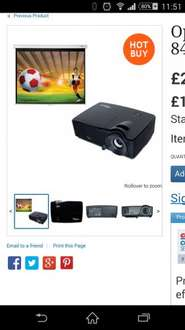 """optoma 3d projector and 84"""" pull down screen - £229 inc vat at costco"""