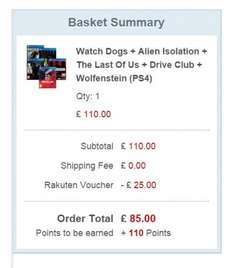 Watch Dogs + Alien Isolation + The Last Of Us + Drive Club + Wolfenstein (PS4) £85 using code 25%COUPONFORYOU @ Rakuten