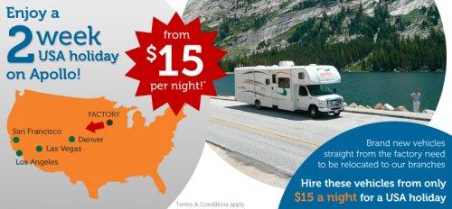 USA Apollo RV Re-Location from Iowa RV Factory to Denver/Las Vegas/LA/San Fran