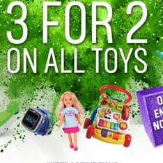 3 for 2 on selected toys at Argos