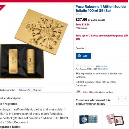Paco Rabanne Gift Set 100ml & deodrant £37.66 @ Boots
