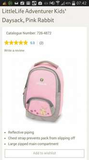 Littlelife Adventurer kids daysack pink rabbits. £3.99 from Tesco Direct with free click and collect.