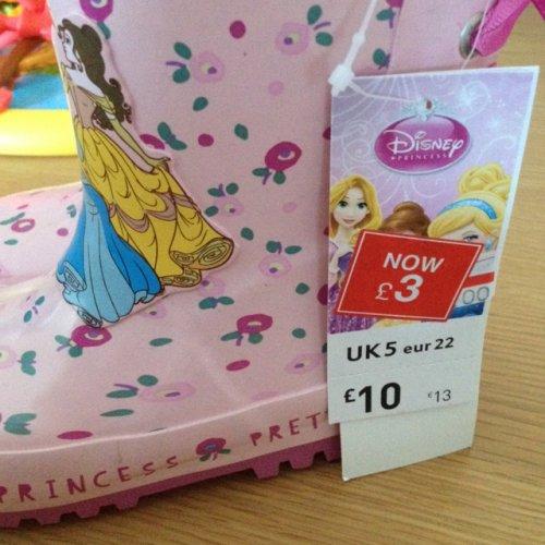 Girls Disney welly boots £3 @ Tesco