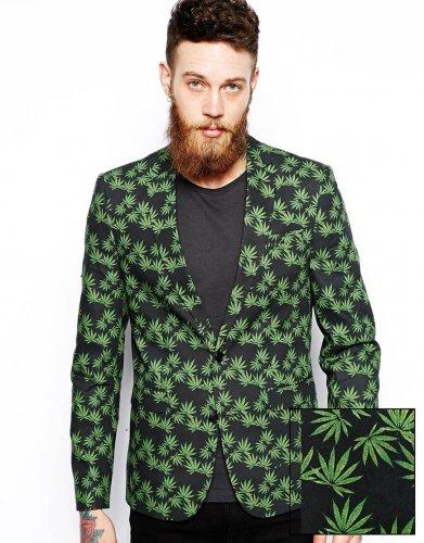 RRP £70.00 ASOS Slim Fit Blazer Ganja Leaf Print now £20.00