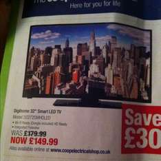 "32"" smart led tv £149.99 @ £149.99 @ Co-operative Electrical"